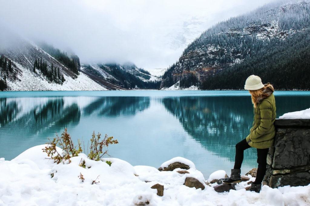 girl by a frozen lake