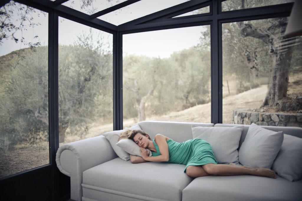 girl sleeping in sofa