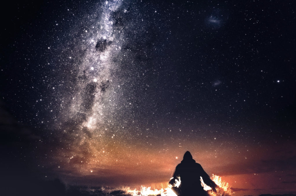 man watching the stars